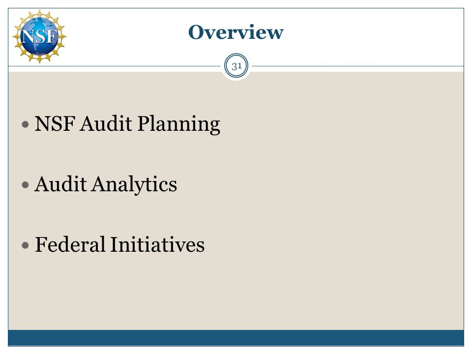 Overview NSF Audit Planning Audit Analytics Federal Initiatives