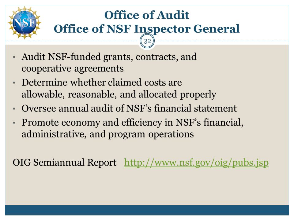 Office of Audit Office of NSF Inspector General