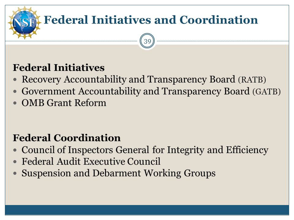 Federal Initiatives and Coordination