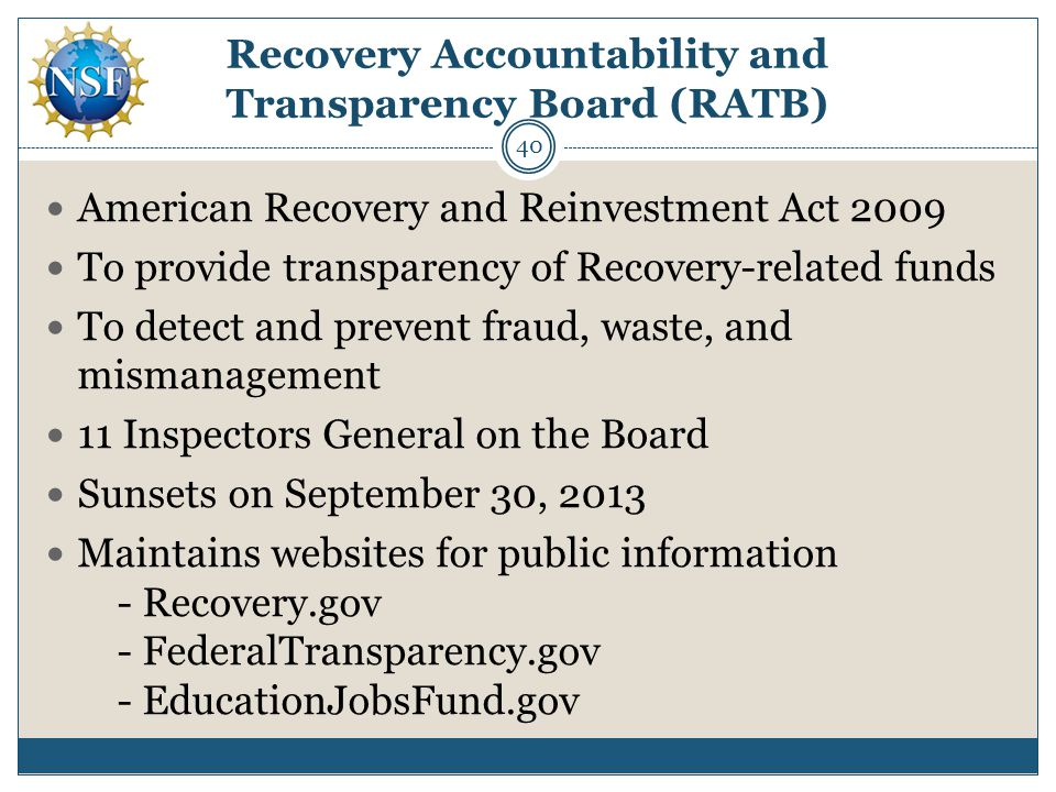 Recovery Accountability and Transparency Board (RATB)