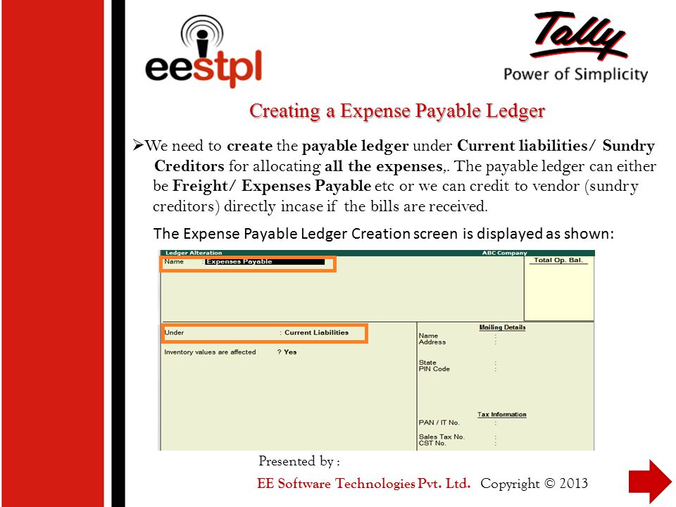 Creating a Expense Payable Ledger