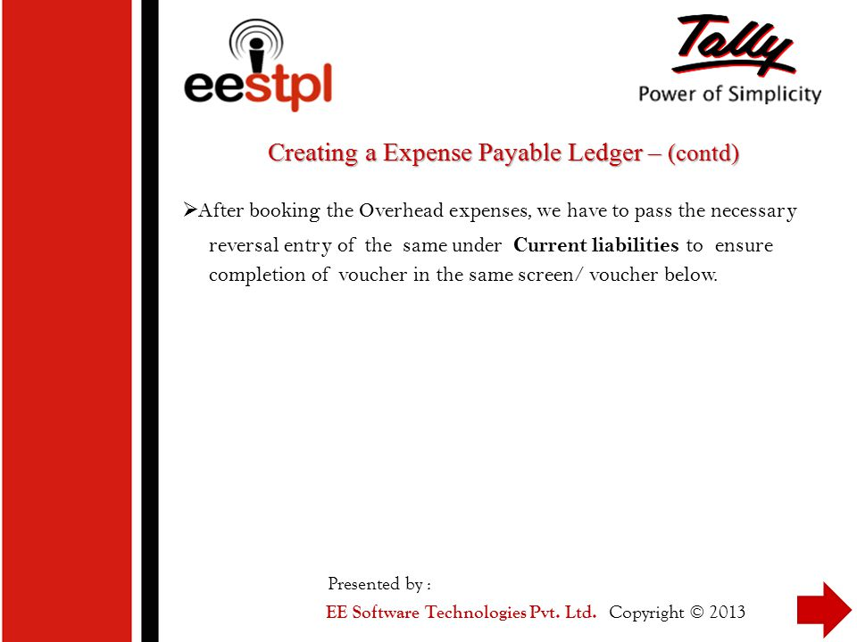 Creating a Expense Payable Ledger – (contd)