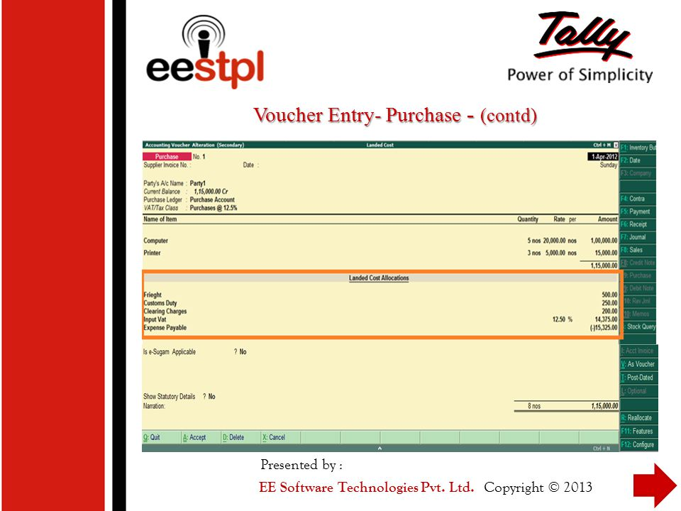 Voucher Entry- Purchase - (contd)