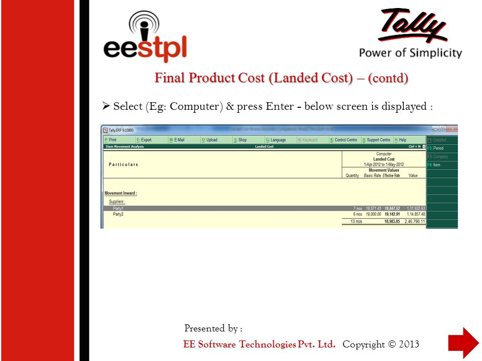 Final Product Cost (Landed Cost) – (contd)