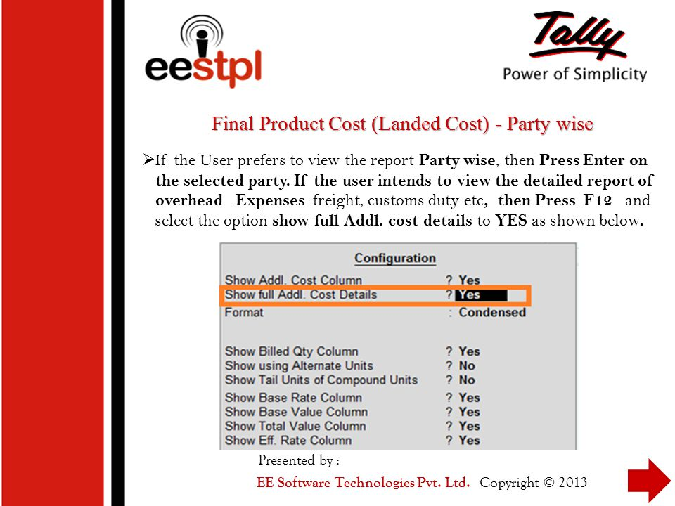 Final Product Cost (Landed Cost) - Party wise