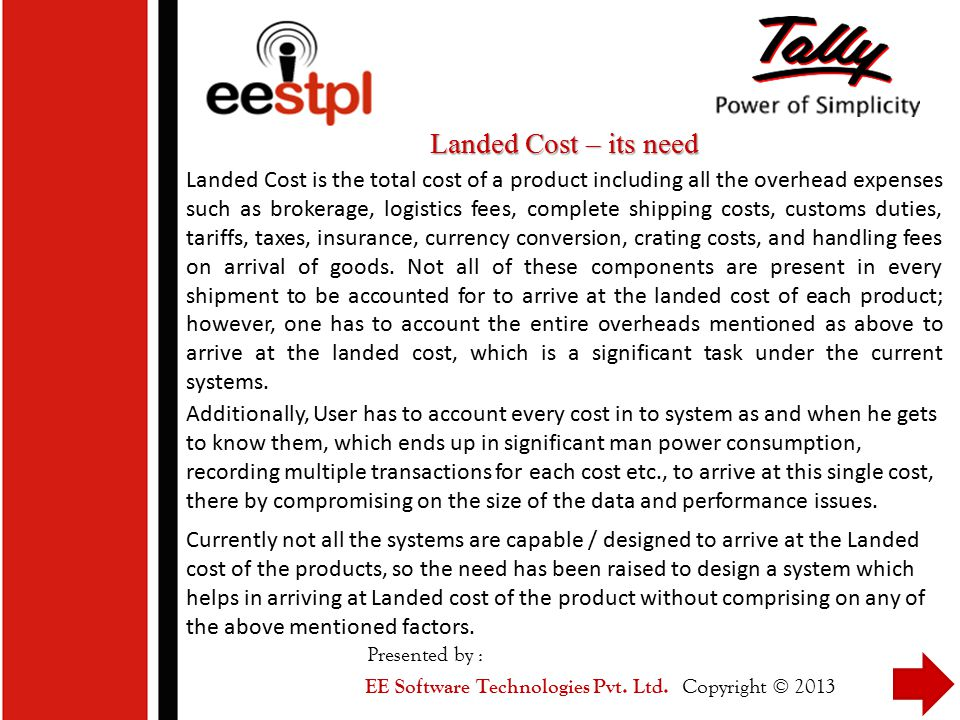 Landed Cost – its need