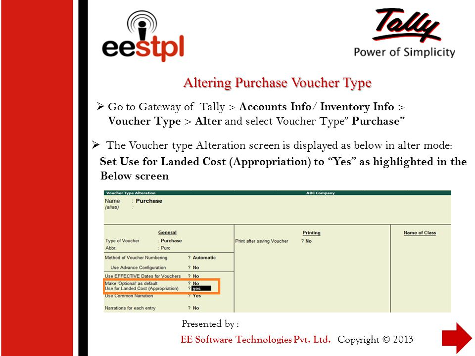 Altering Purchase Voucher Type