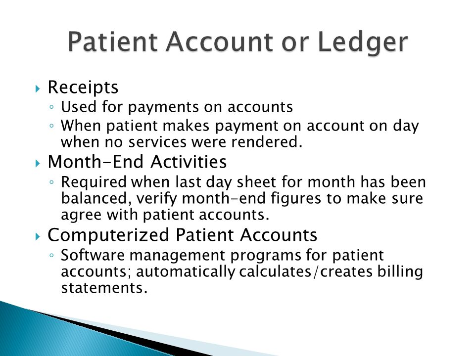 Patient Account or Ledger