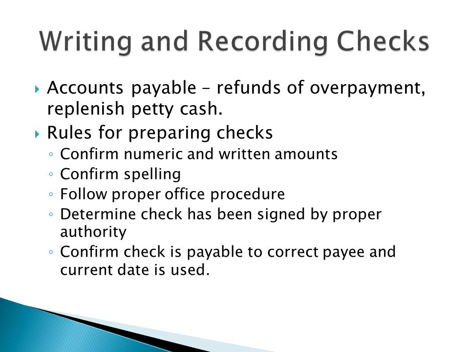 Writing and Recording Checks