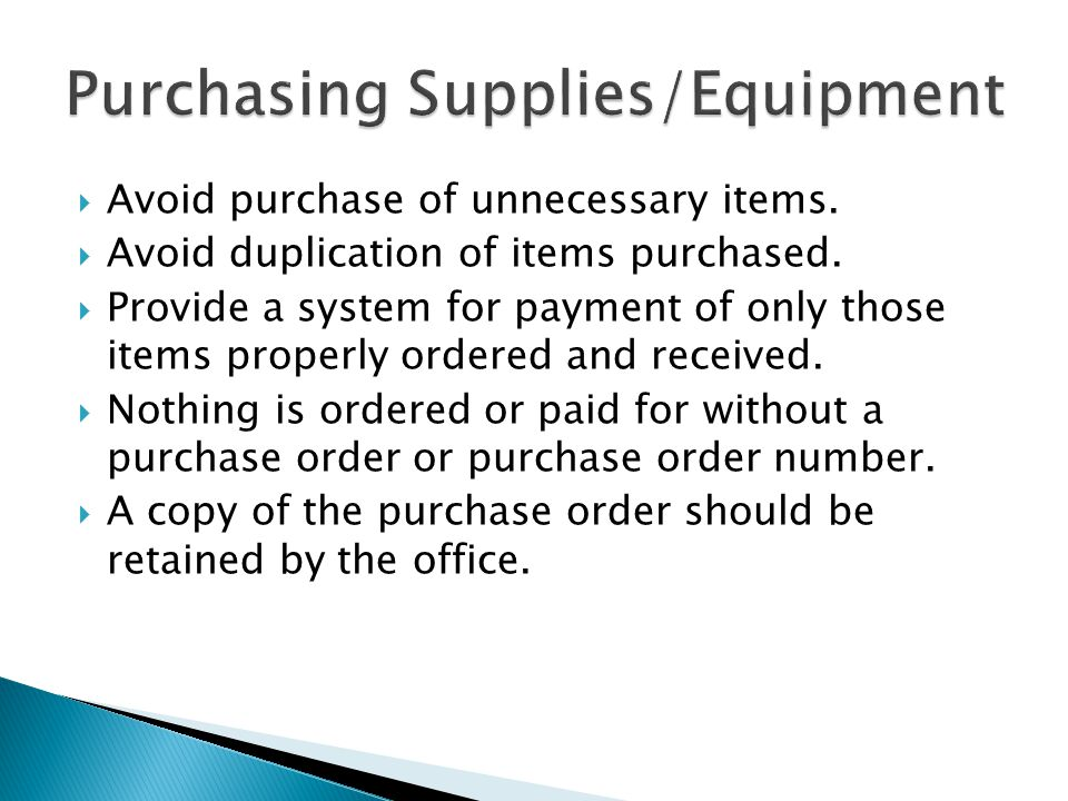 Purchasing Supplies/Equipment