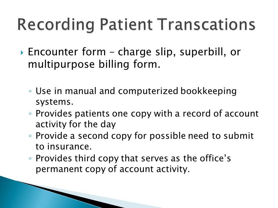 Recording Patient Transcations