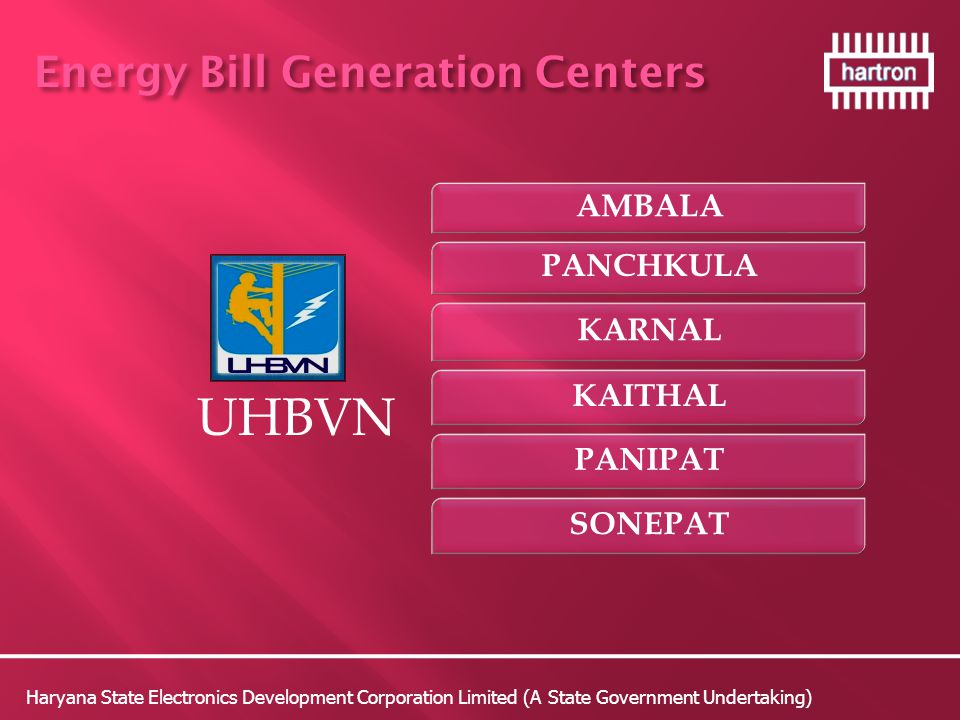 UHBVN Energy Bill Generation Centers AMBALA PANCHKULA KARNAL KAITHAL