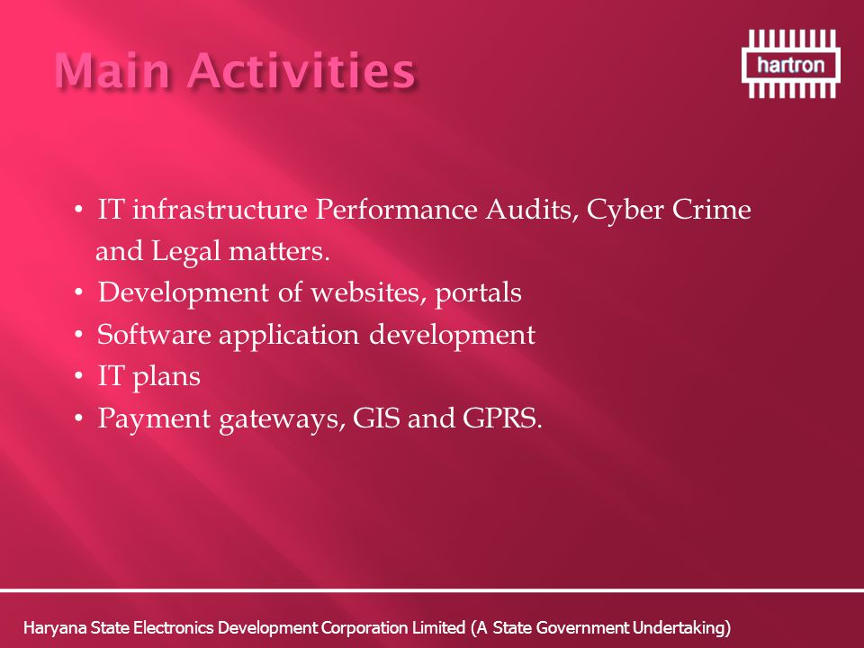 Main Activities IT infrastructure Performance Audits, Cyber Crime