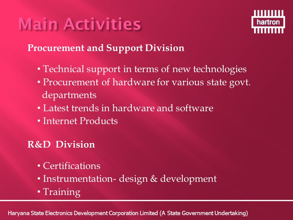 Main Activities Procurement and Support Division