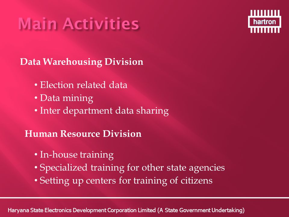 Main Activities Data Warehousing Division Election related data