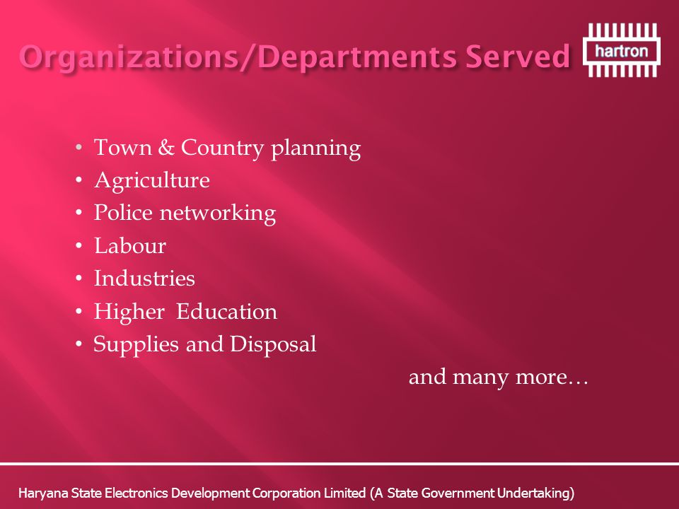 Organizations/Departments Served