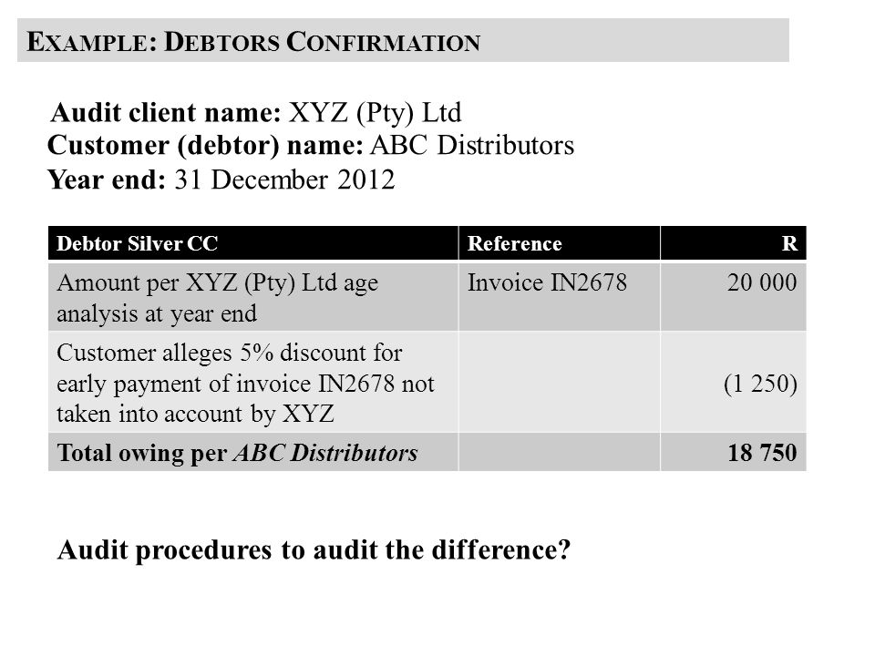 Example: Debtors Confirmation