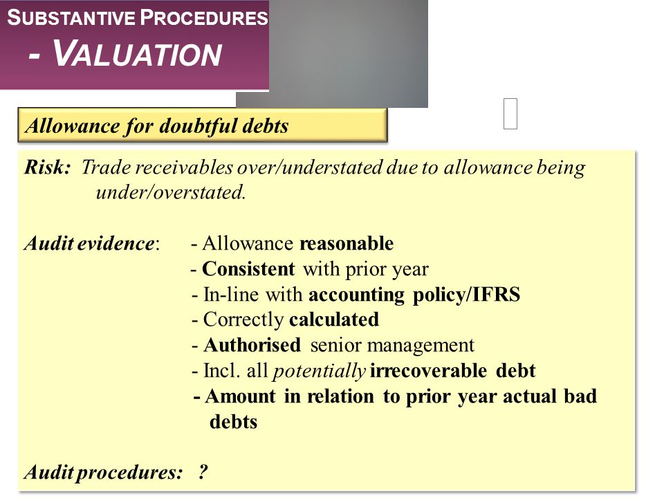 - Valuation Substantive Procedures Allowance for doubtful debts
