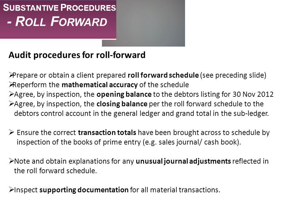 - Roll Forward Audit procedures for roll-forward