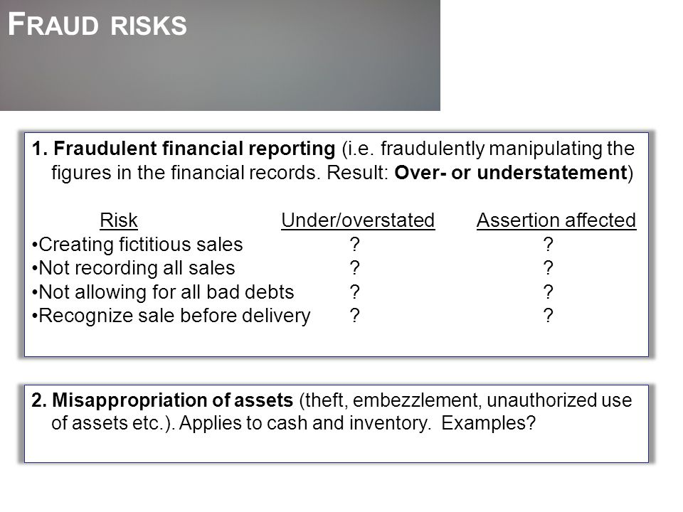 Fraud risks 1. Fraudulent financial reporting (i.e. fraudulently manipulating the figures in the financial records. Result: Over- or understatement)