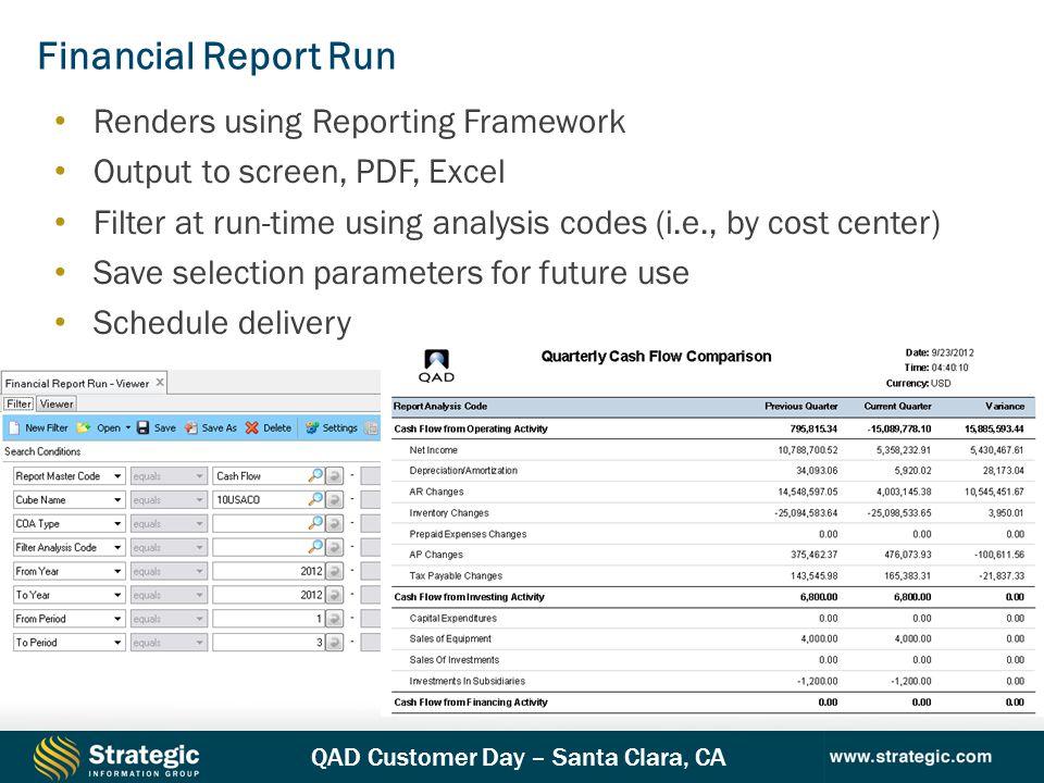Financial Report Run Renders using Reporting Framework