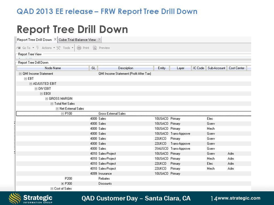 QAD 2013 EE release – FRW Report Tree Drill Down