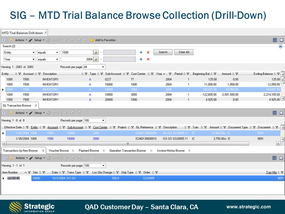 SIG – MTD Trial Balance Browse Collection (Drill-Down)