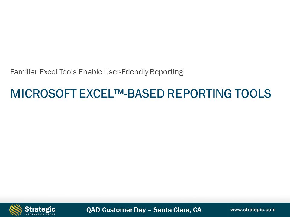 Microsoft Excel™-Based Reporting Tools