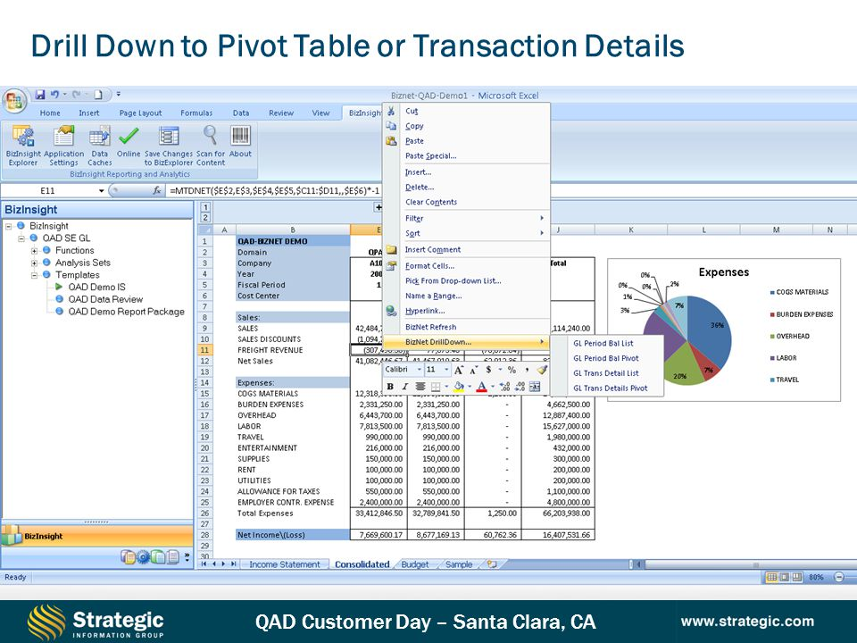 Drill Down to Pivot Table or Transaction Details