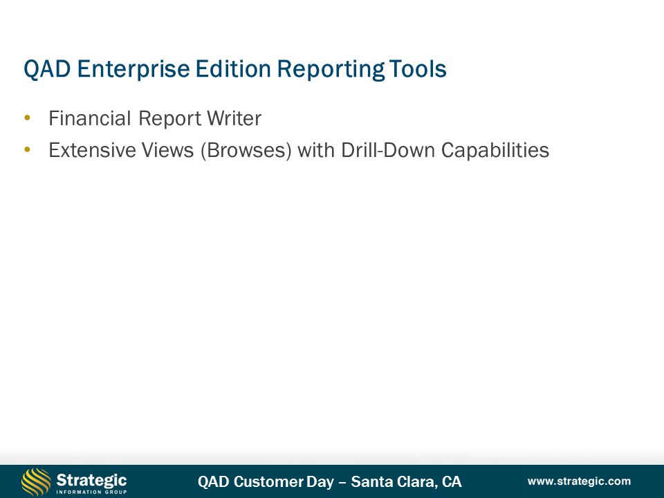 QAD Enterprise Edition Reporting Tools