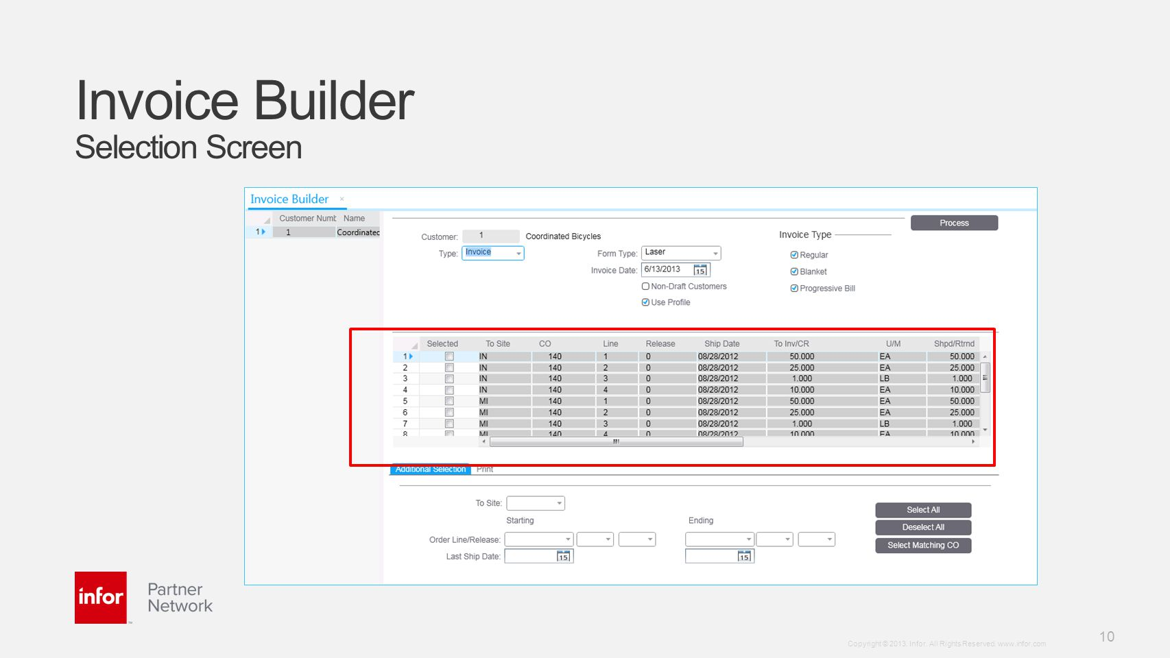 Invoice Builder Selection Screen