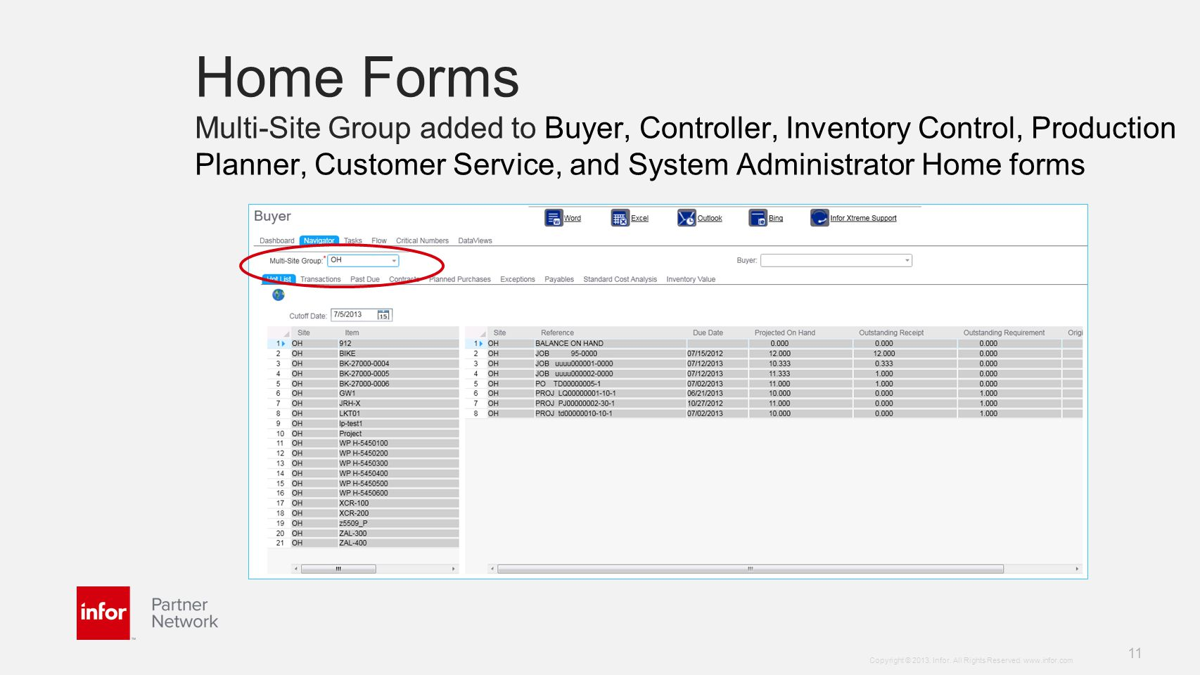 Home Forms Multi-Site Group added to Buyer, Controller, Inventory Control, Production Planner, Customer Service, and System Administrator Home forms