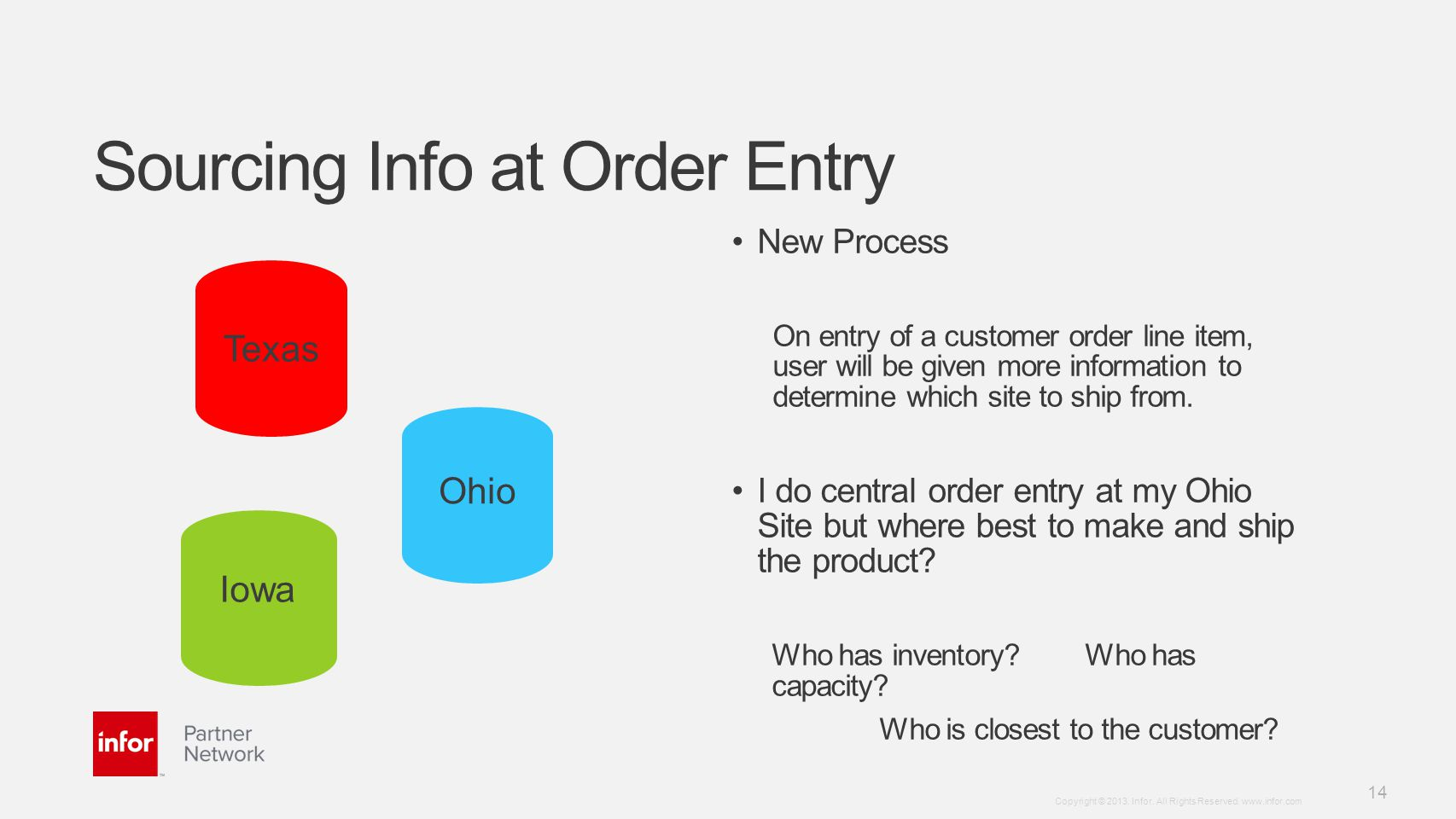 Sourcing Info at Order Entry