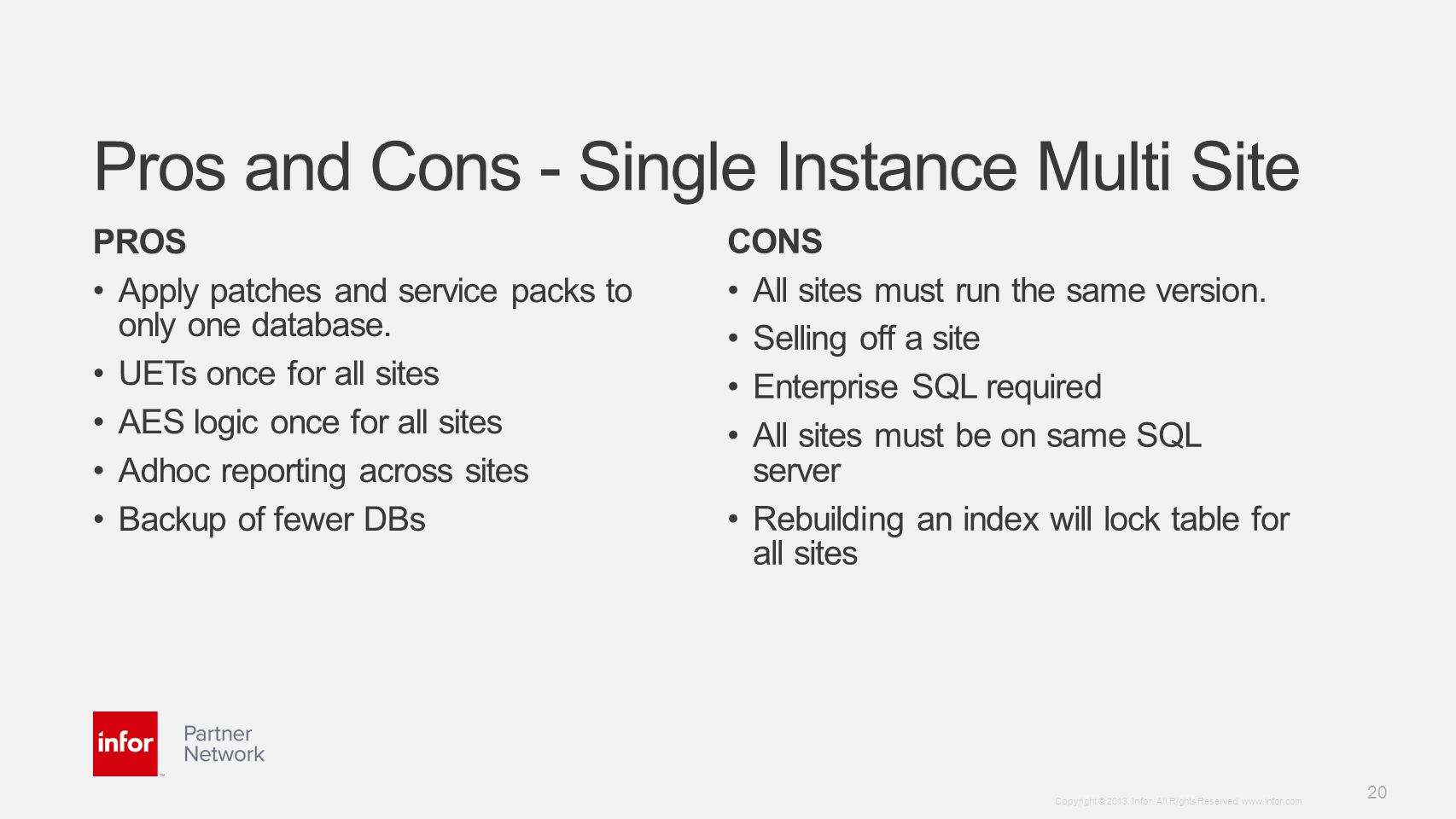 Pros and Cons - Single Instance Multi Site