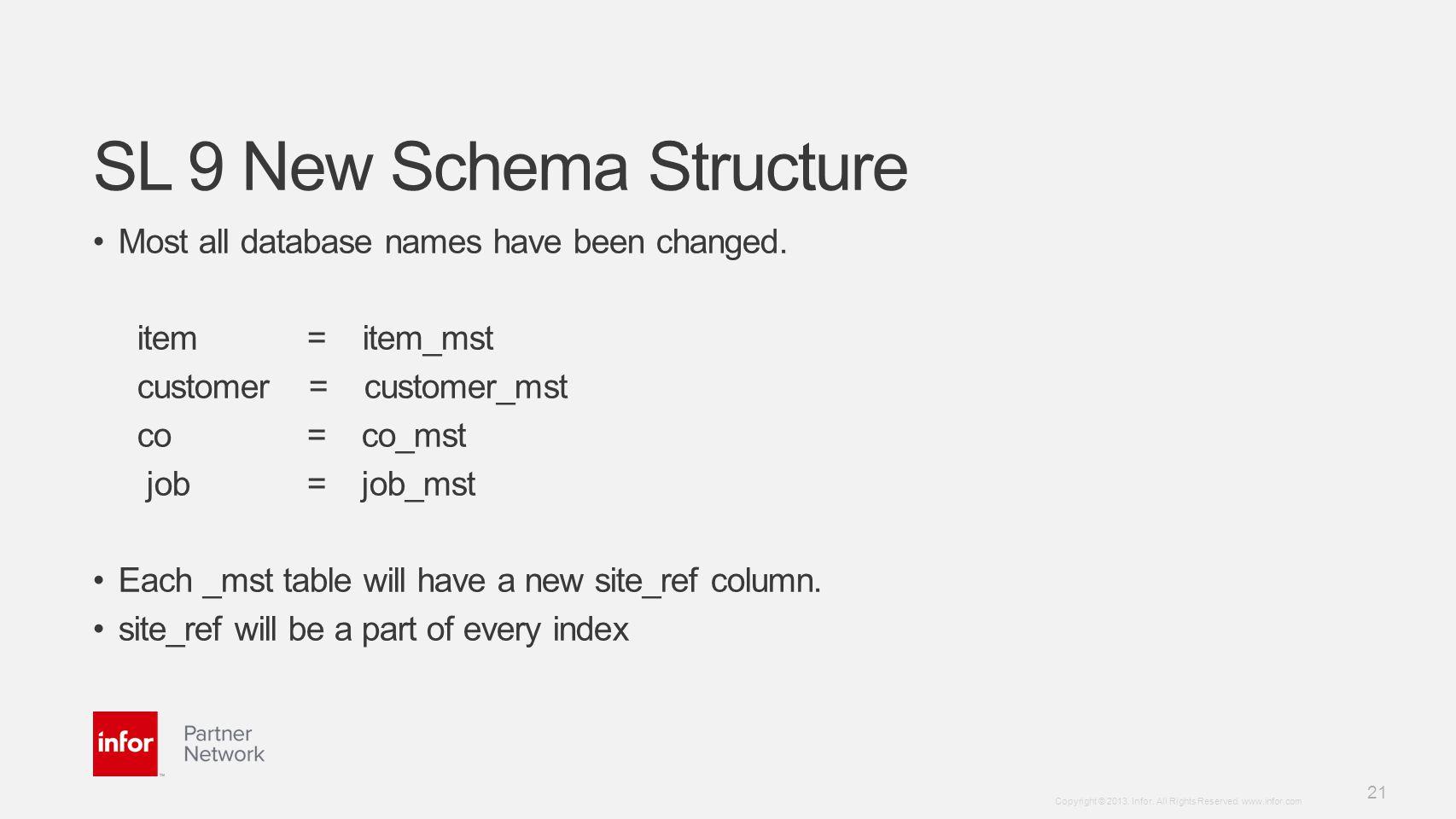 SL 9 New Schema Structure
