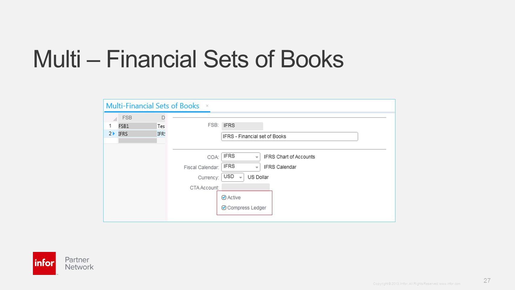 Multi – Financial Sets of Books
