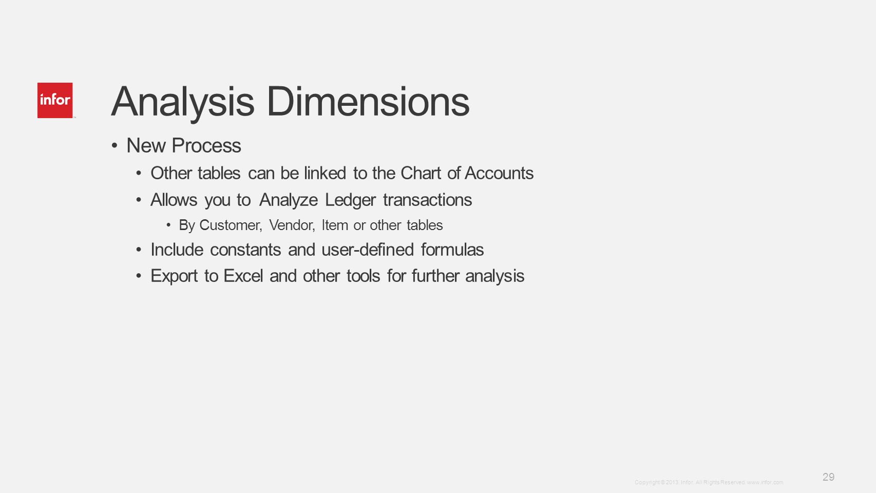 Analysis Dimensions New Process