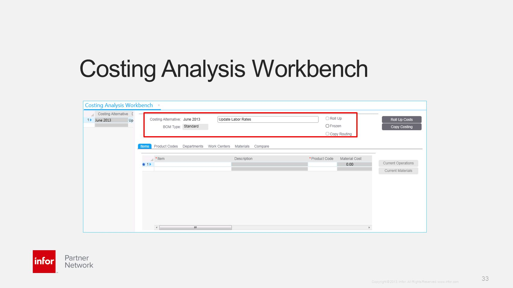 Costing Analysis Workbench