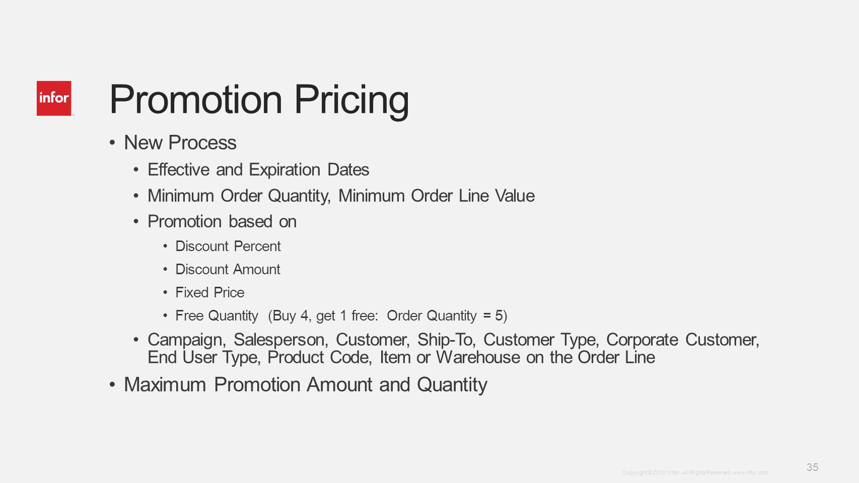 Promotion Pricing New Process Maximum Promotion Amount and Quantity