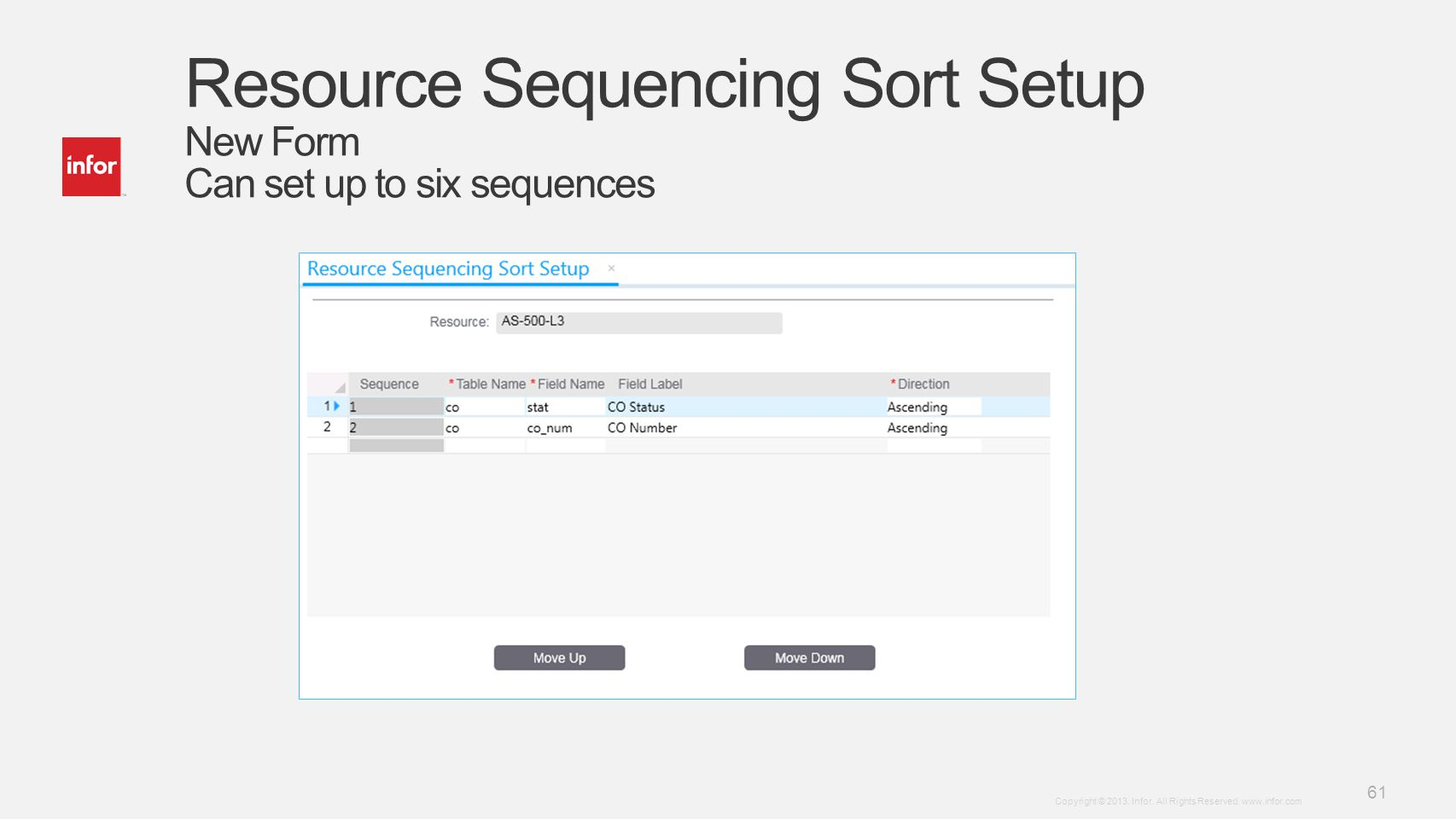 Resource Sequencing Sort Setup New Form Can set up to six sequences