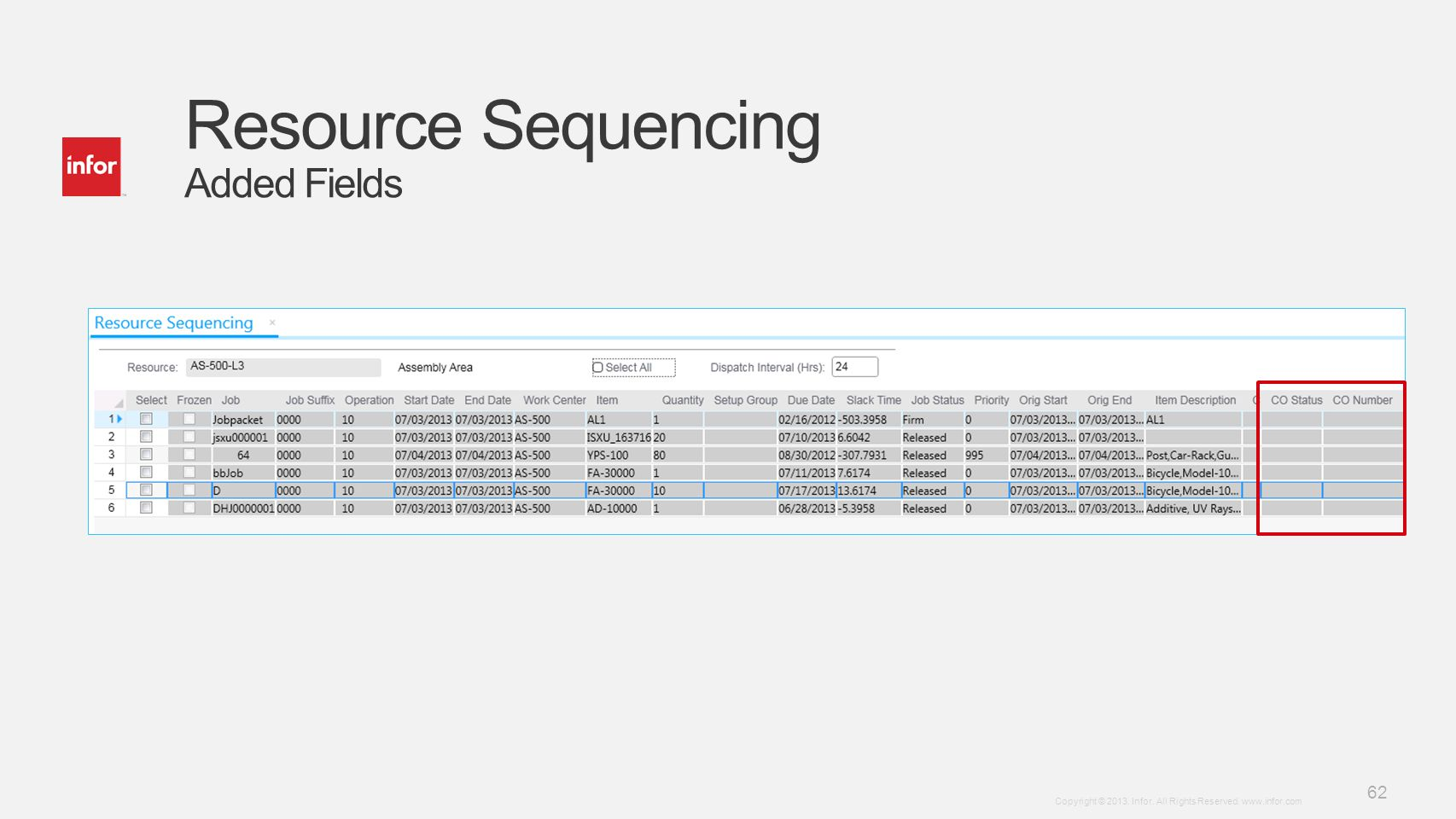 Resource Sequencing Added Fields
