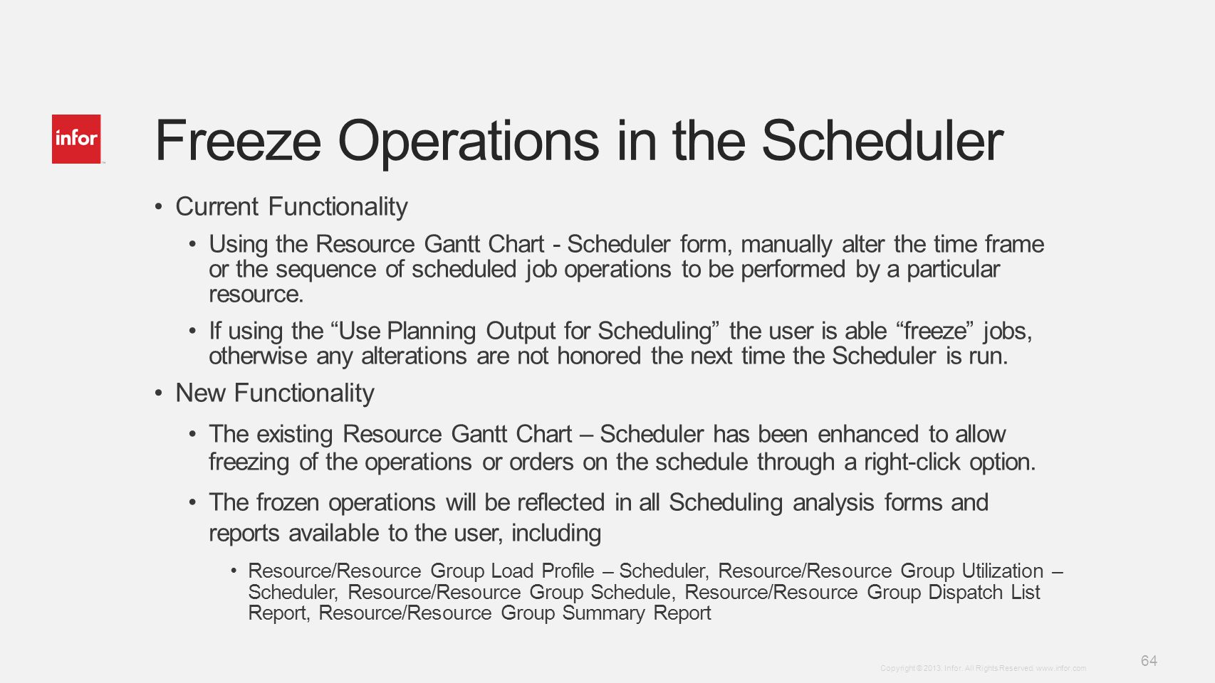Freeze Operations in the Scheduler