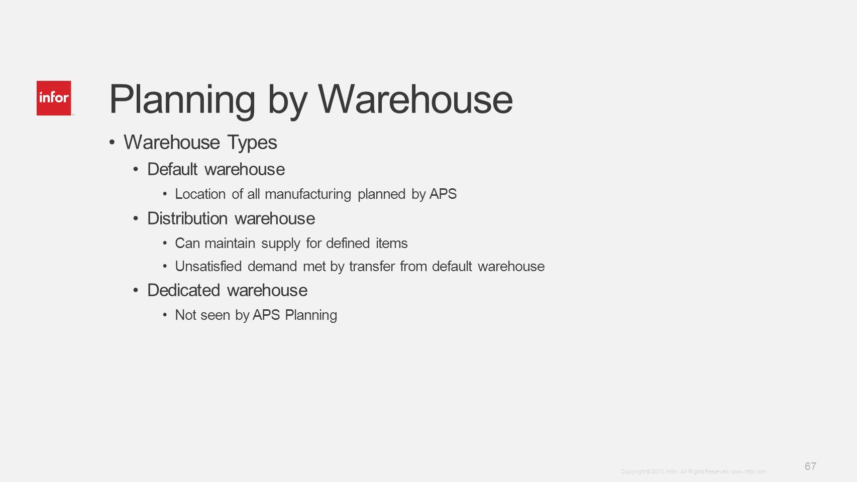 Planning by Warehouse Warehouse Types Default warehouse