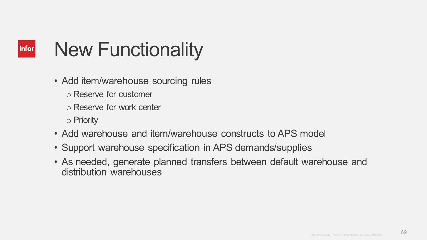 New Functionality Add item/warehouse sourcing rules