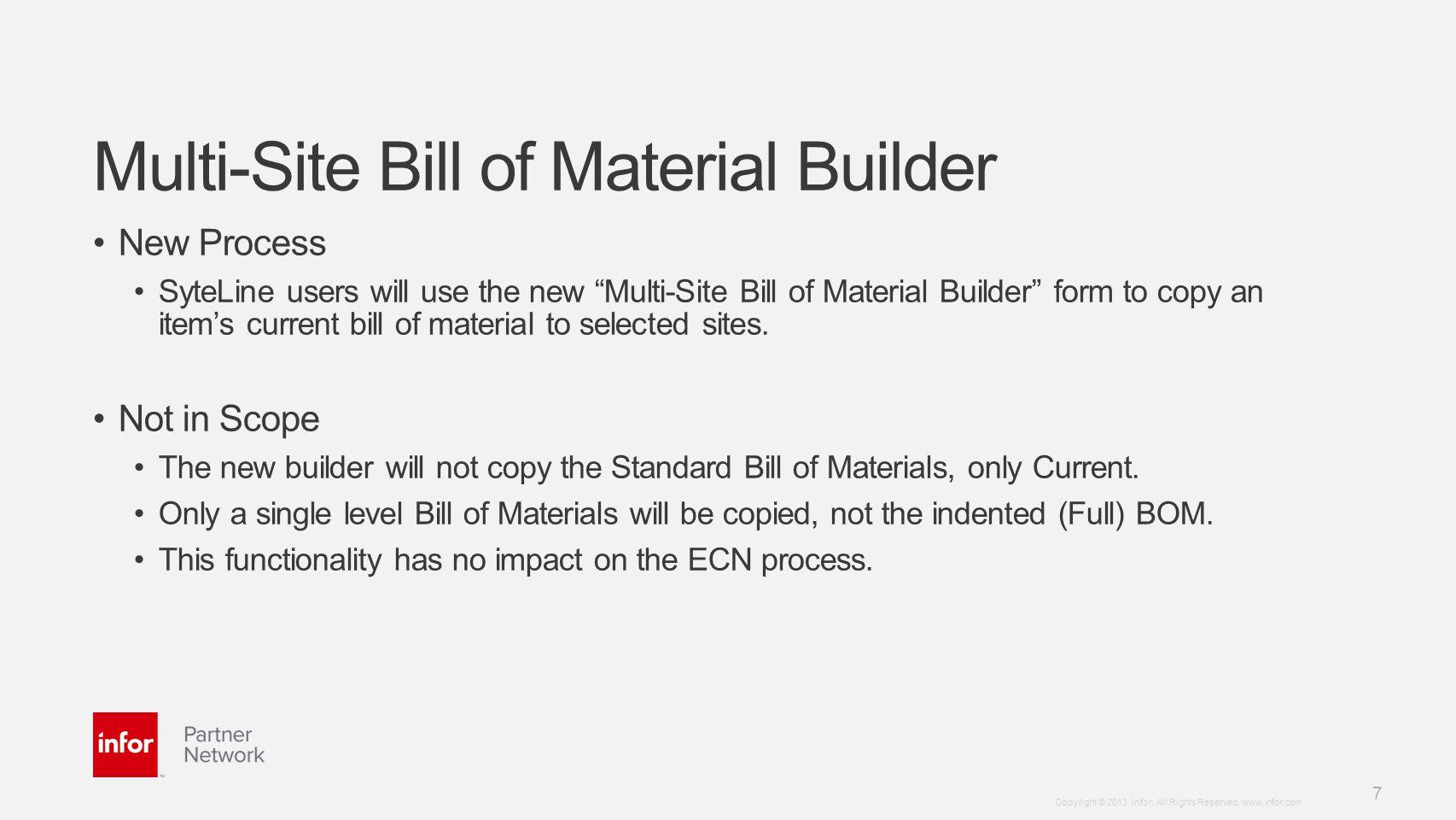 Multi-Site Bill of Material Builder