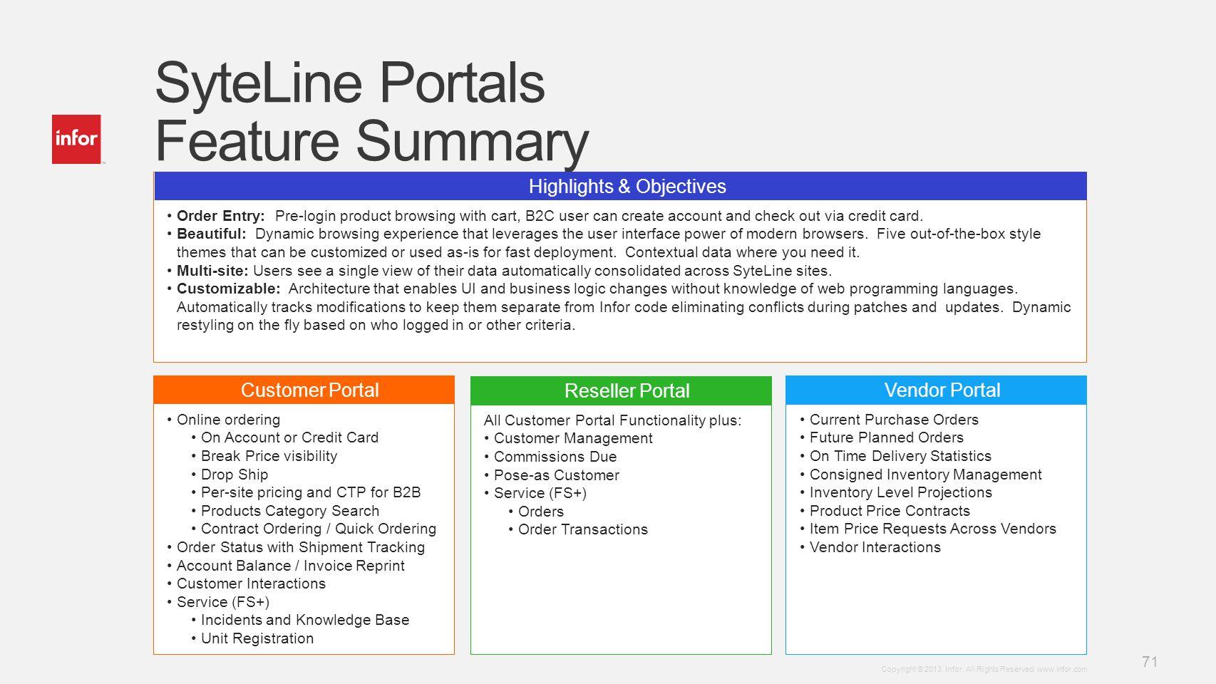 SyteLine Portals Feature Summary