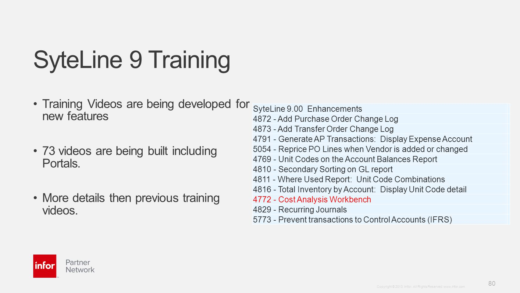 SyteLine 9 Training Training Videos are being developed for new features. 73 videos are being built including Portals.