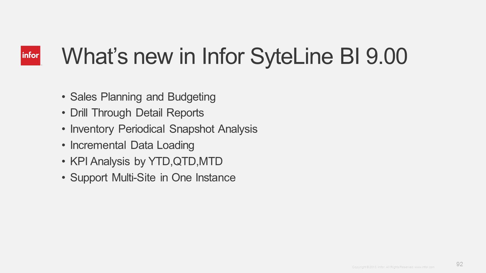 What's new in Infor SyteLine BI 9.00