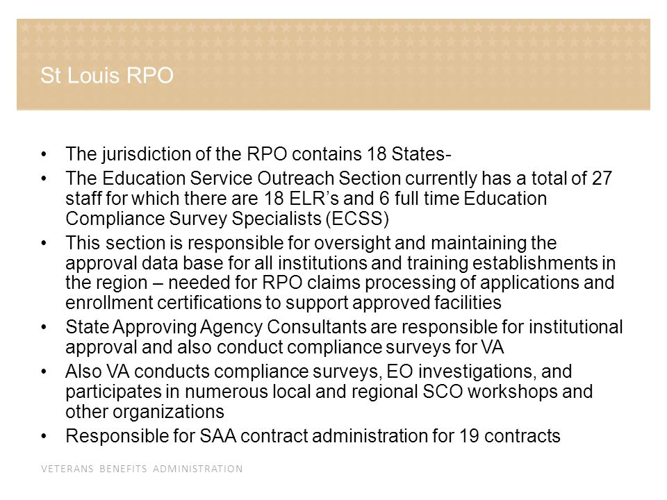 St Louis RPO The jurisdiction of the RPO contains 18 States-