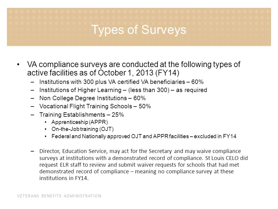 Types of Surveys VA compliance surveys are conducted at the following types of active facilities as of October 1, 2013 (FY14)